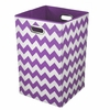 Purple Chevron Canvas Laundry Bin