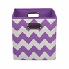 Purple Chevron Canvas Storage Bin