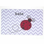 Purple Chevron with Ladybug Name Personalized Placemat