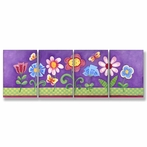Purple Floral Wall Plaques - Set of 4