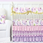 Purple Petunia Crib Bedding Set