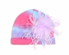 Purple Tie Dye Hat with Lavender Curly Marabou