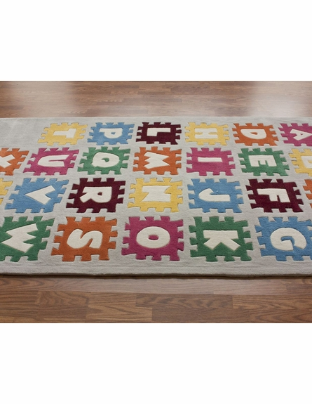 Puzzle Alphabet Rug in Ivory