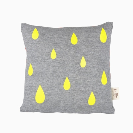 Quick Ship! Raindrops Organic Cotton Throw Pillow