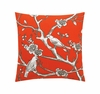 Vintage Blossom Square Throw Pillow in Persimmon