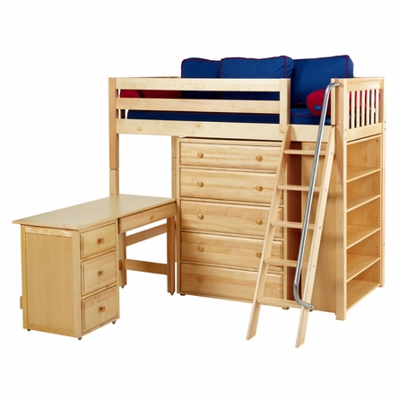 Quinn Twin High Loft Bed with Bookcase and Desk