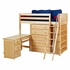 Quinn High Loft Bed with Bookcase and Desk