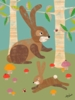 Rabbits in the Woods Canvas Wall Art