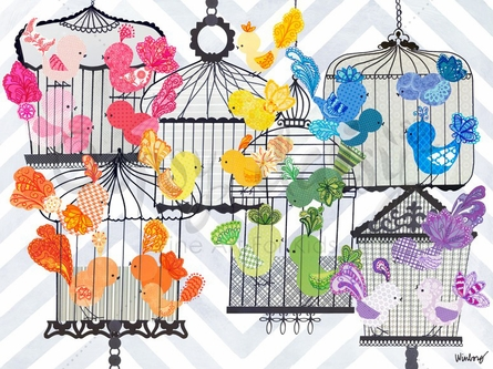 Rainbow Birdies Canvas Wall Art