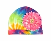 Rainbow Tie Dye Hat with Candy Pink Daisy