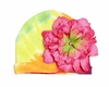 Rainbow Tie Dye Hat with Candy Pink Peony