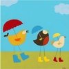 Rainy Day Birds I Canvas Reproduction