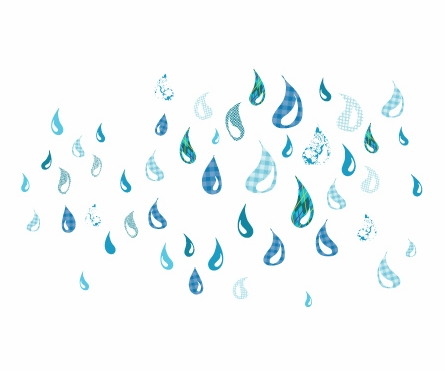 Rainy Day Drops Fabric Wall Decals
