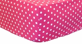 Raspberry Polka Dot Crib Sheet $(+38.00)