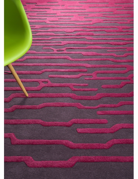 Raspberry Striation Harlequin Rug