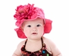 Raspberry Sun Hat with Peony