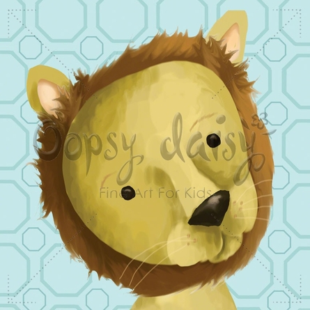 Rauri the Lion in Powder Blue Canvas Wall Art