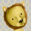 Rauri the Lion Yellow and Grey Canvas Wall Art