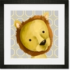 Rauri the Lion Yellow and Grey Framed Art Print