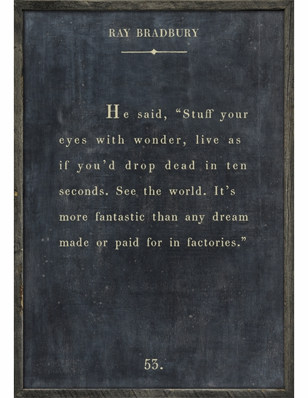 Ray Bradbury Quote Vintage Framed Art Print