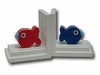 Red and Blue Puffer Fish Bookends with White Base