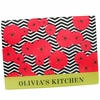 Red and Chevron Poppies Personalized Cutting Board