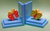 Red and Green Butterfly Bookends with Sky Base