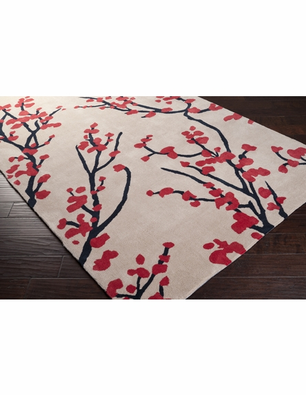 Red and Parchment Branches Hudson Park Rug