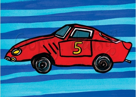 Red Car Number 5 Canvas Wall Art
