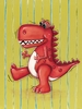 Red Dinosaur Canvas Reproduction
