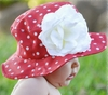 Red Dot Sun Hat with White Rose