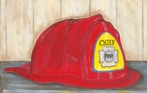 Red Firefighter's Helmet Stretched Canvas Art