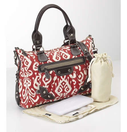 Red Ikat Slouch Tote Diaper Bag