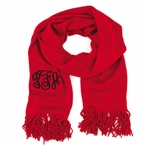 Red Monogram Soft Knit Scarf