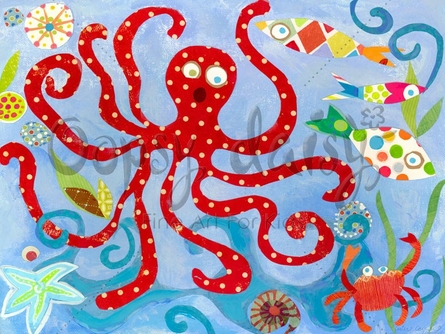 Red Octopus Canvas Wall Art