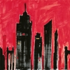 Red Silhouette Cityscape Canvas Art
