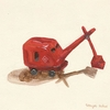 Red Steam Shovel Canvas Wall Art