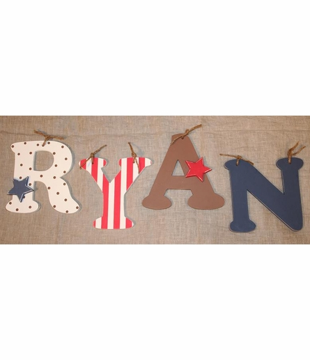 Red Stripe Wooden Mix & Match Wall Letter