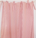 Red Ticking Stripe Curtain Panel