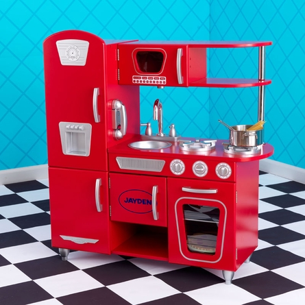 kidkraft vintage play kitchen red
