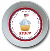 Red White and Blue Cupcake Personalized Melamine Bowl