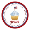 Red White and Blue Cupcake Personalized Melamine Plate