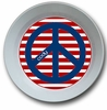 Red White and Blue Peace Personalized Melamine Bowl