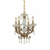 Regal Four Light Clear Crystal Brass Mini Chandelier