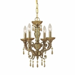 Regal Four Light Golden Teak Crystal Brass Mini Chandelier