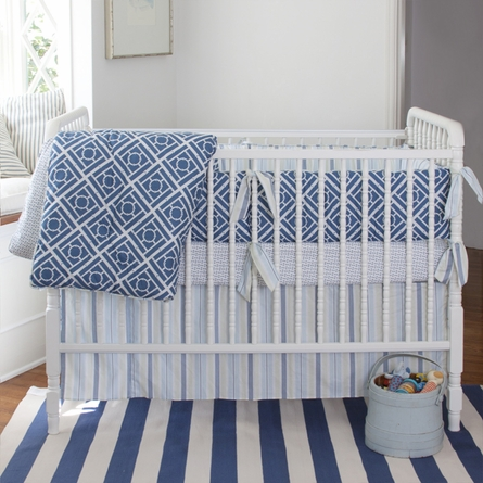Regal Stripe Sky Crib Skirt
