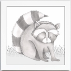Reid Raccoon Framed Canvas Reproduction