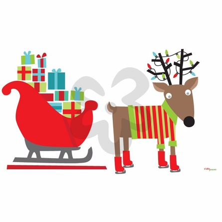 Reindeer and Sleigh Peel & Place Wall Stickers