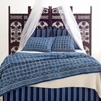 Resist Octagon Indigo Coverlet