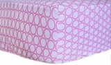 Retro Circles Pink Crib Sheet $(+56.00)